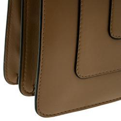 Bvlgari Light Brown Leather Medium Serpenti Flap Shoulder Bag