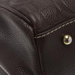 Carolina Herrera Choco Brown Monogram Leather Matteo Tote