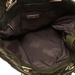 Carolina Herrera Dark Green Quilted Nylon Tote