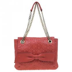 Carolina Herrera Red Monogram Leather Audrey Shoulder Bag