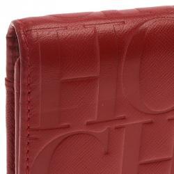 Carolina Herrera Red Monogram Leather Continental Wallet