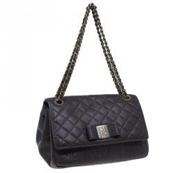 Carolina Herrera Brown Monogram Leather Shoulder Bag