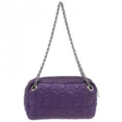Carolina Herrera Purple Monogram Leather Shoulder Bag