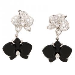 Cartier Caresse D'orchidees Par Cartier Diamonds, Onyx and White Gold Dangle Earrings