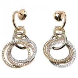 Cartier Trinity Diamond Pavé Three Tone Gold Crash Earrings