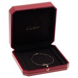 Cartier Logo Double C Diamonds Rose Gold Bracelet