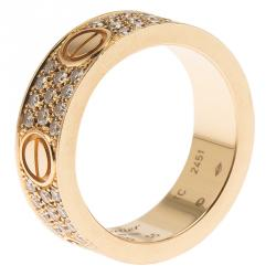 Cartier Love Diamond Rose Gold Band Ring Size 55