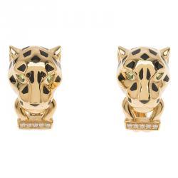 Cartier Panthere de Cartier Yellow Gold Diamond and Garnet Earrings