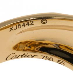 Cartier Panthere de Cartier Garnet and Onyx Yellow Gold Ring Size 55
