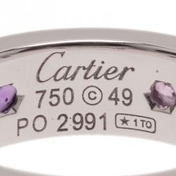 Cartier Love Colored Gemstones and White Gold Band Ring Size 49