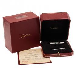 Cartier Love 4 Diamonds White Gold Bracelet 18CM