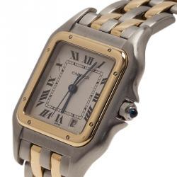 Cartier Tank Stainless Steel 18 K Yellow Gold Women's Wristwatch 27 MM