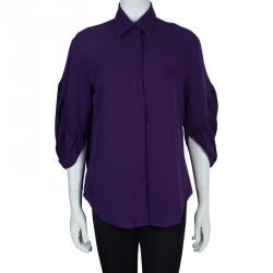 Catherine Malandrino Purple Long Sleeve Silk Blouse S