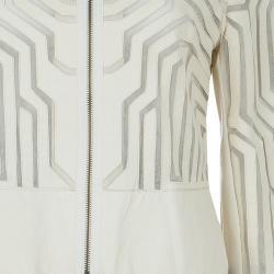 Catherine Malandrino Cream Leather Cut Out Jacket M