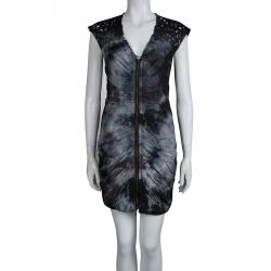 Catherine Malandrino Monochrome Tie-Dyed Cotton Ruched Sleeveless Double Zipper Dress S