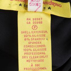 Catherine Malandrino Black Silk Ruched Frill Detail One Shoulder Dress M
