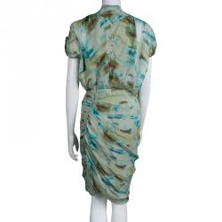 Catherine Malandrino Multicolor Printed Silk Ruched Dress M