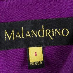 Malandrino Purple Silk Ruffle Detail Draped Gown M