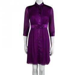 Catherine Malandrino Purple Silk Gathered Shirt Dress S