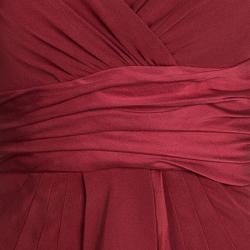 Catherine Malandrino Red Silk Ruffle Detail Draped Sleeveless Dress S
