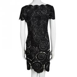 Catherine Malandrino Black Cotton Cutwork Floral Embridered Embellished Shift Dress S