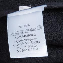 Celine Black Zip Detail A-Line Wool Skirt M