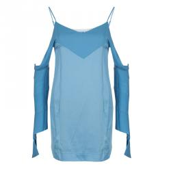 Celine Blue Cut-Out Long Sleeve Silk Top S