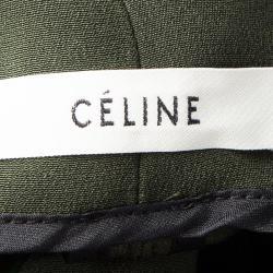 Celine Bottle Green Silk Zip Detail High Neck Long Sleeve Blouse S