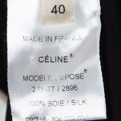 Celine Black Silk Draped Neck Detail Sleeveless Top M