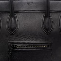 Celine Black Leather Mini Phantom Luggage Tote