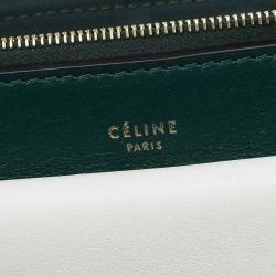 Celine Green/White Leather and Snake Skin Medium Pocket Clutch