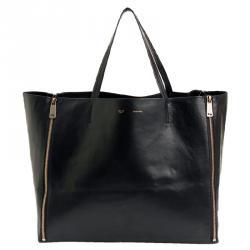 Celine Black Leather Gusset Cabas Tote Bag