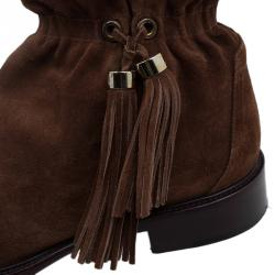 Celine Brown Suede Tassel Knee Boots Size 36.5