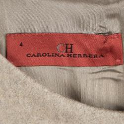 CH Carolina Herrera Beige Wool Cap Sleeve Sheath Dress S