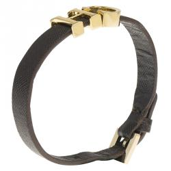 CH Carolina Herrera Logo Brown Leather Bracelet