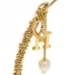 CH Carolina Herrera Logo and Faux Pearl Charm Gold Tone Bracelet 18cm