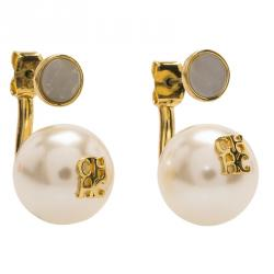 CH Carolina Herrera Faux Pearl Gold Tone Long Post Stud Earrings