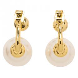 CH Carolina Herrera Faux Pearl Gold Tone Long Post Stud Earrings