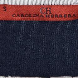 CH Carolina Herrera Navy Blue Knit Bow Detail  Top S