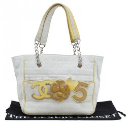 Chanel Beige Canvas and Patent Leather Camellia No.5 Tote