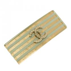 Chanel CC Faux Pearl Gold Tone and Sea Green Resin Hair Clip