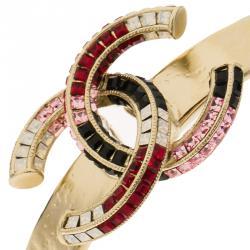 Chanel CC Multi-Colored Crystals Gold Tone Open Cuff Bracelet 16cm