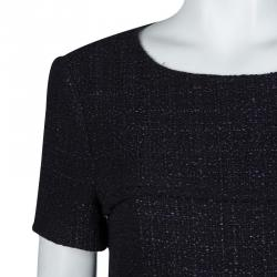 Chanel Black and Purple Textured Short Sleeve Dress L