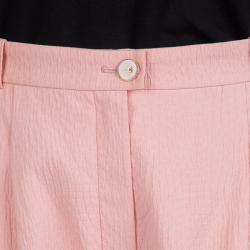 Chanel Light Pink Textured Cotton Wide-Leg Trousers M
