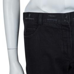 Chanel Black Distressed Denim Embroidered Patch Detail Straight Fit Jeans M