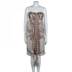 Chanel Beige Printed Silk Halter Dress M