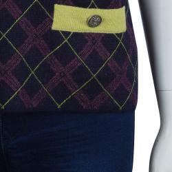 Chanel Purple Argyle Pattern Sleeveless Sweater M