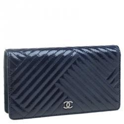 Chanel Navy Blue Patent Bi-Fold Continental Wallet