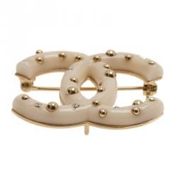 Chanel CC Gold Tone Creme Resin  Crystal Brooch
