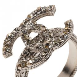 Chanel CC Silver Tone Ring Size 52.5
